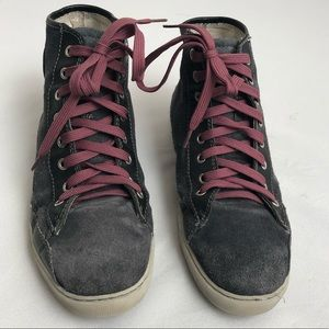 I-N-C distressed gray sneaker with purple laces